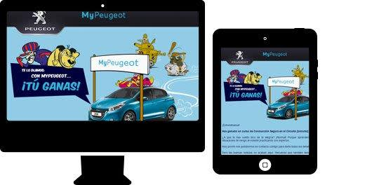 Image of My Peugeot advertisement on a monitor and mobile device