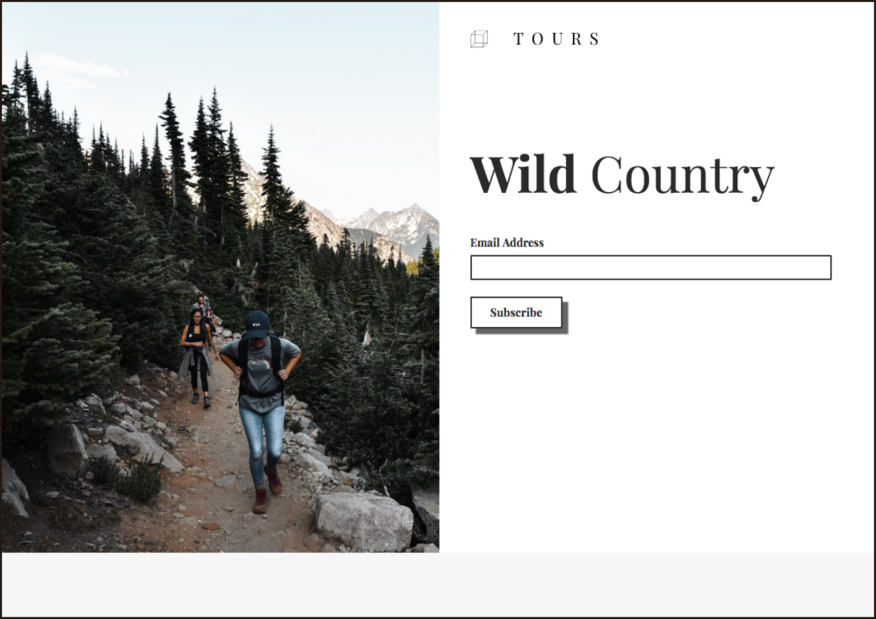 Landing page with a signup form that reads wild country tours