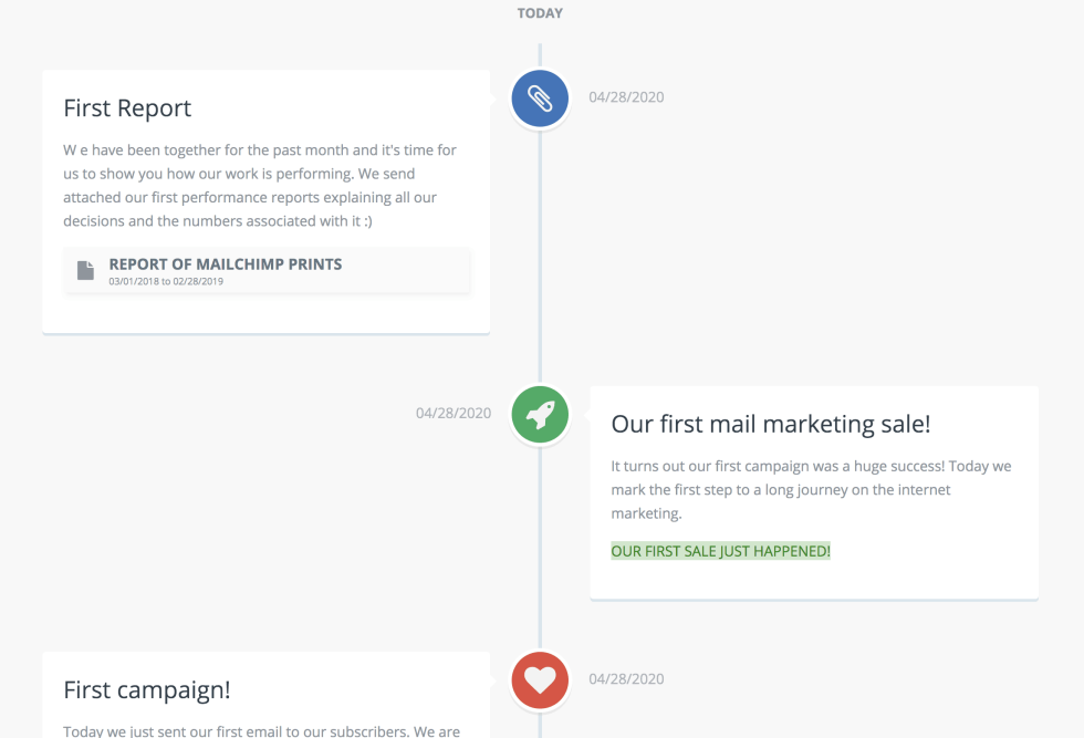 """Image of the marketing timeline with words """"First Report"""" and """"Our first mail marketing sale!"""""""