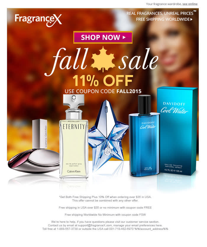 Promotional flyer for a perfume company. Flyer includes photos of different products against a faded backdrop of a photo of a smiling woman. Logo in top left corner in white text. Center of image includes promo information and hyperlink buttons.