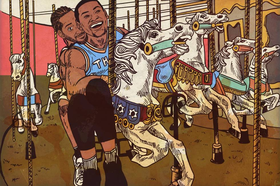 An illustration of two basketball players riding on a merry go round