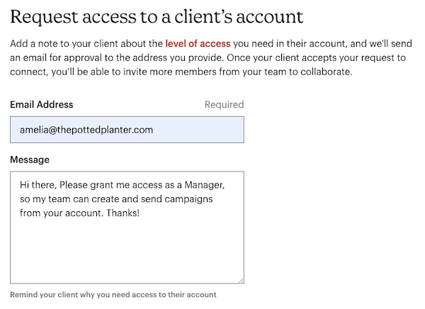Client Account Access Request Message - Mailchimp & Co