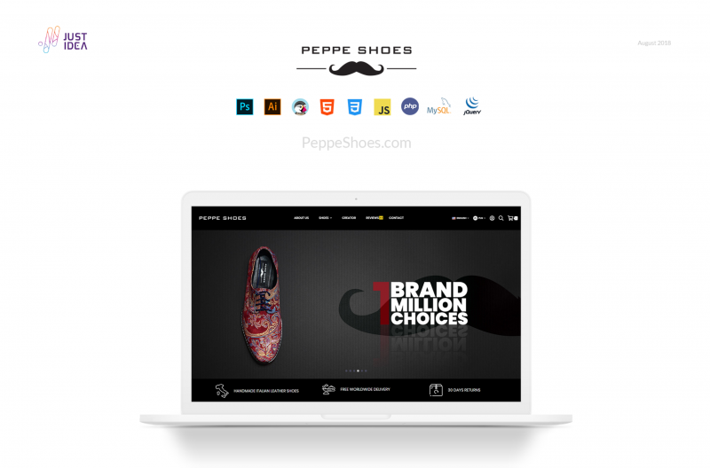 Image of Peppe Shoes website on a laptop