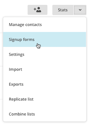 List drop-down showing signup forms.