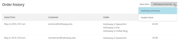 Screenshot of Order history data.