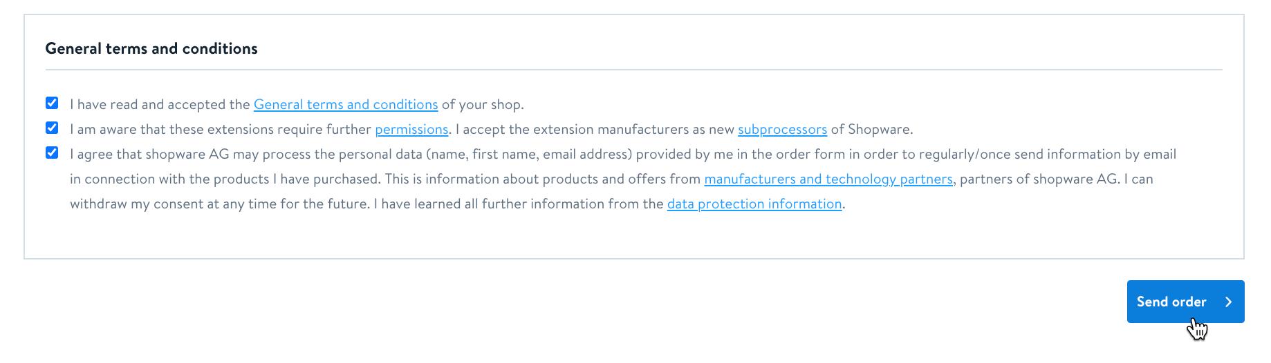 Cursor clicks - Send order - Shopware 6