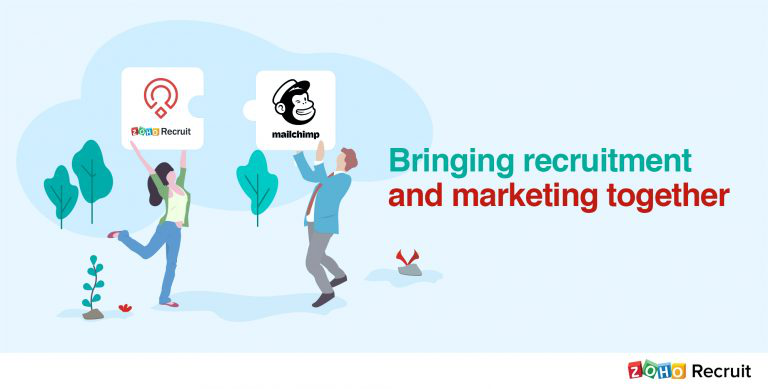 Image of two people one with a Zoho Recruit sign the other with a mailchimp sign and the text bringing recruitment and marketing together