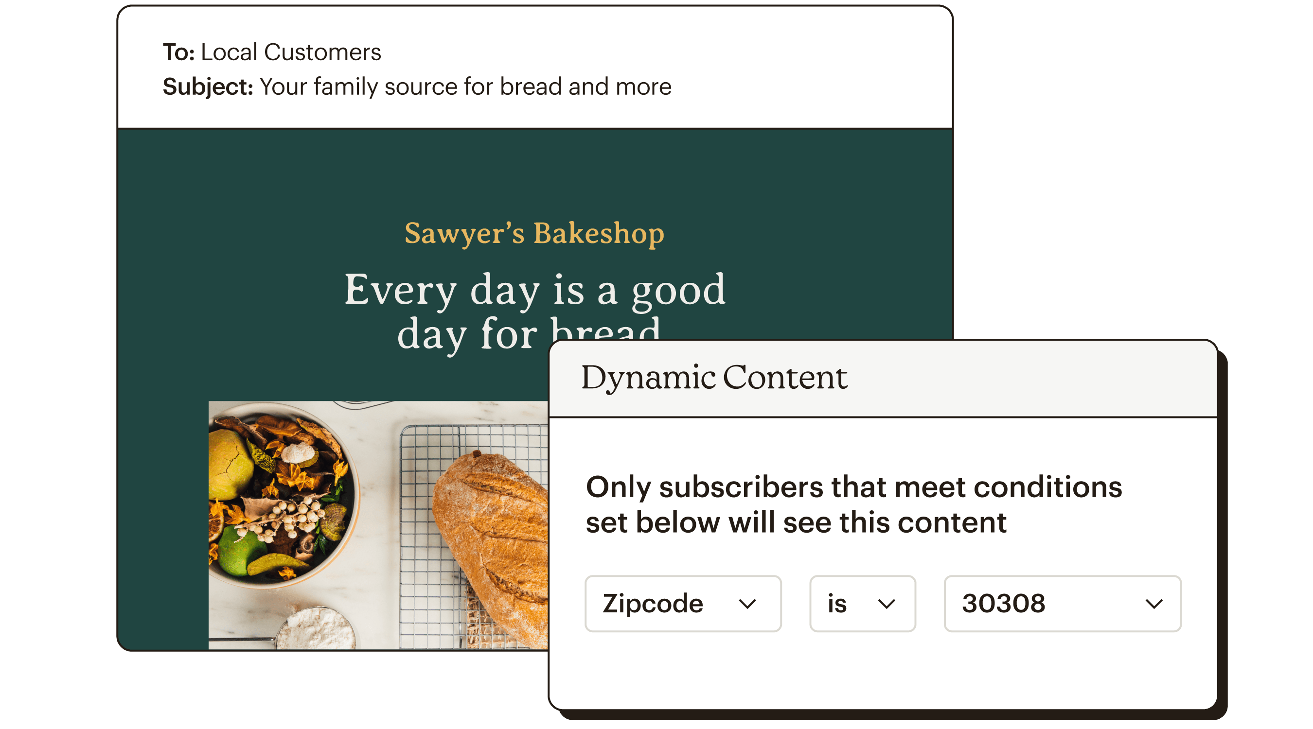 Dynamic Content Abstract UI Sawyer's Bakeshop Static Meet Conditions