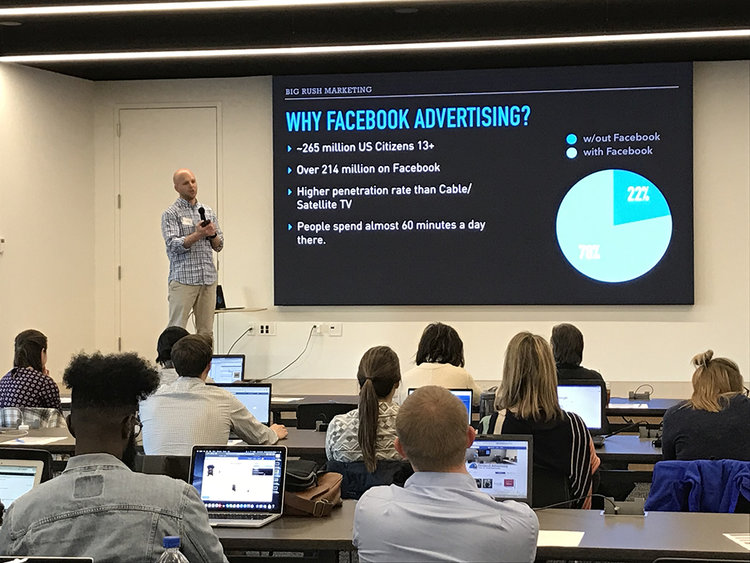 Image of a presentation with text Why Facebook advertising?