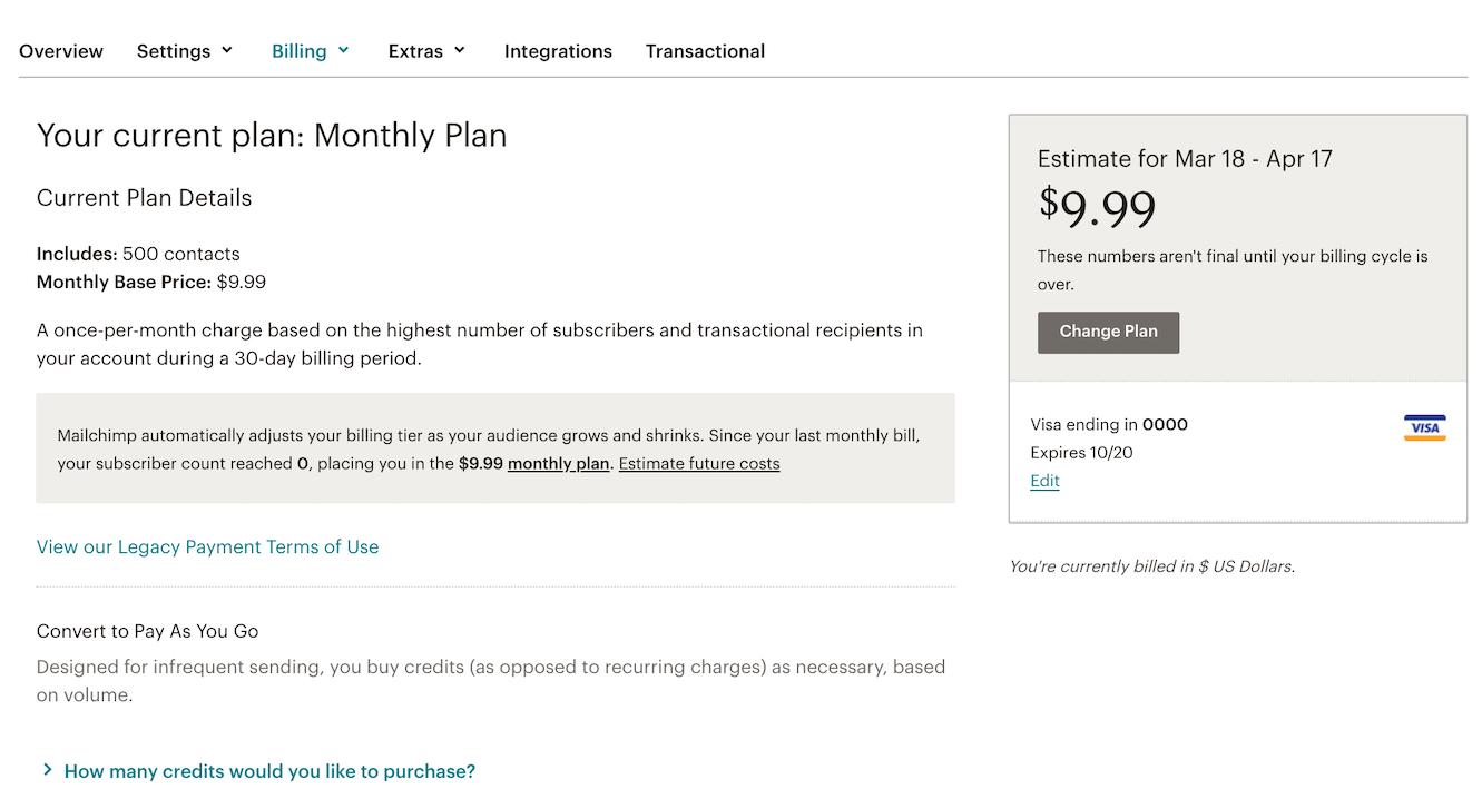 Billing Plan screen