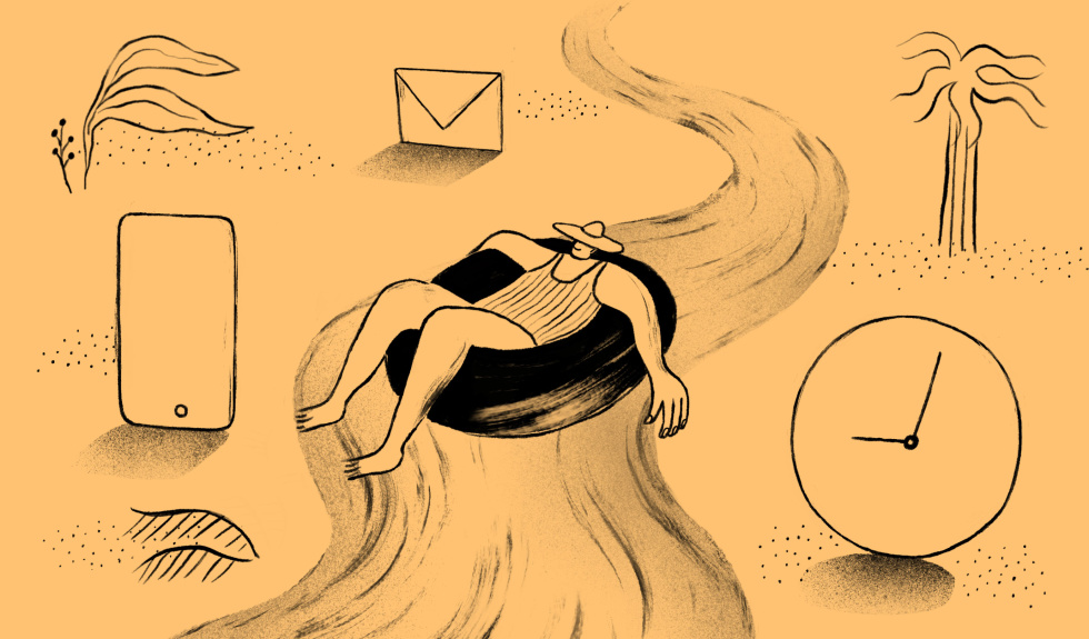 Doodle of a person tubing and relaxing on a river, passing a clock, phone, and email icon.