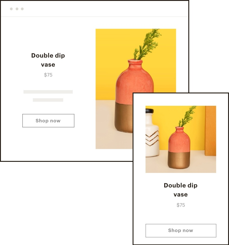 An image of a landing page template inside the campaign builder.