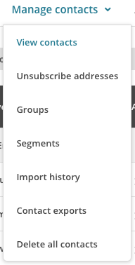 manage contacts dropdown