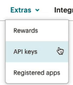 Configuración de cuenta de Mailchimp - Desplegable de Extras - Claves API