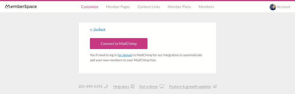 Image of connecting to Mailchimp