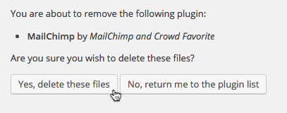 image: a screenshot of the Delete Plugin page for List Subscribe for Wordpress.