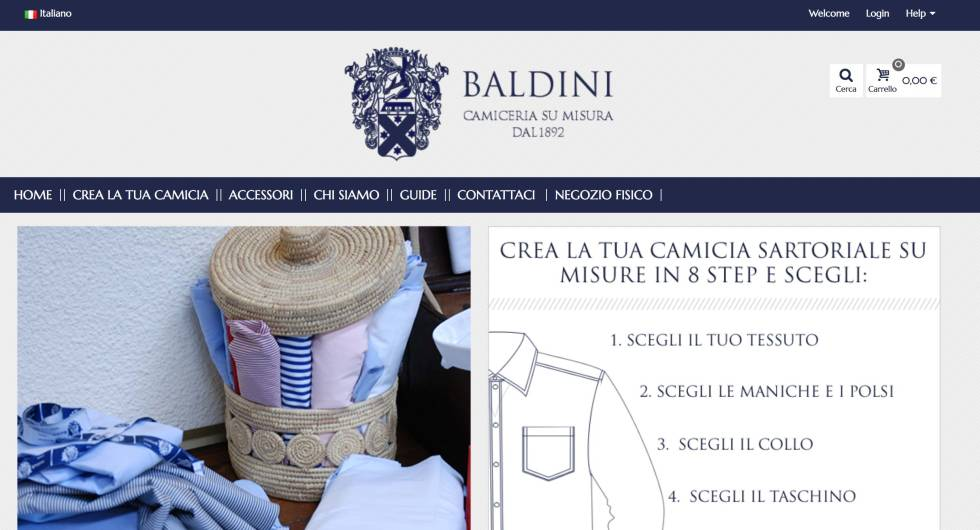 Screenshot of custom website. Includes logo, navigation bar, illustrations and text