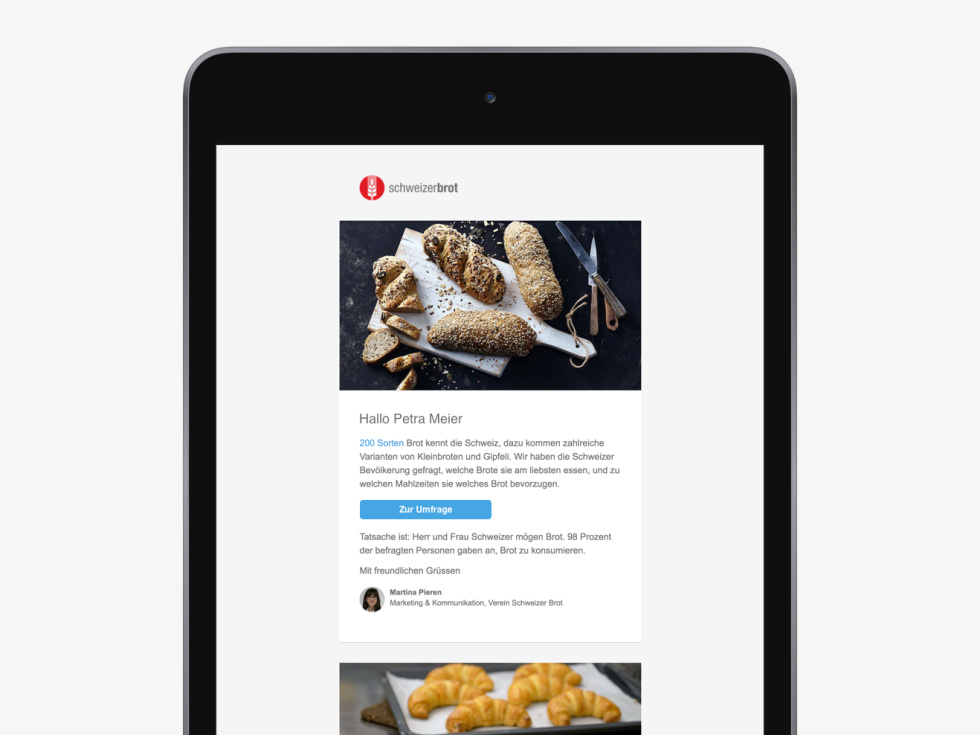 Custom email newsletter on tablet