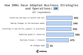 UK SMBs Changes made to business strategy or operations Exploring new ways to market and sell 56% Making changes to the business model 54% Investing in new skills, people, or processes 53% Reducing spend or resources 58% Business losses/closures 47% No changes made 5%