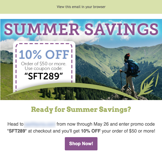Image of coupon code with text Summer Savings