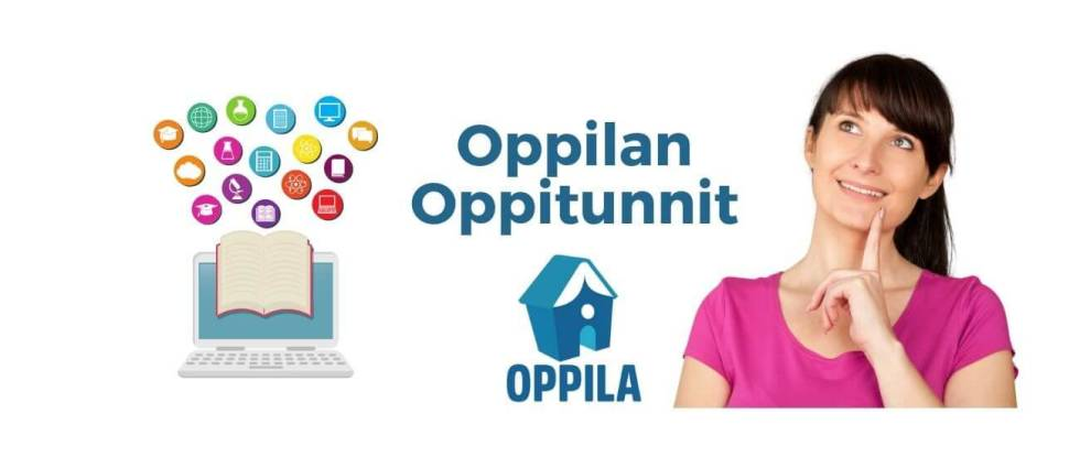 White background with graphic on left side of open laptop and open book overlaying it. Several symbols related to digital marketing seem to be pouring out of book and laptop. In the center of white background is Oppila Oy logo. On the right side is picture of woman making a thinking gesture and smiling upwards.
