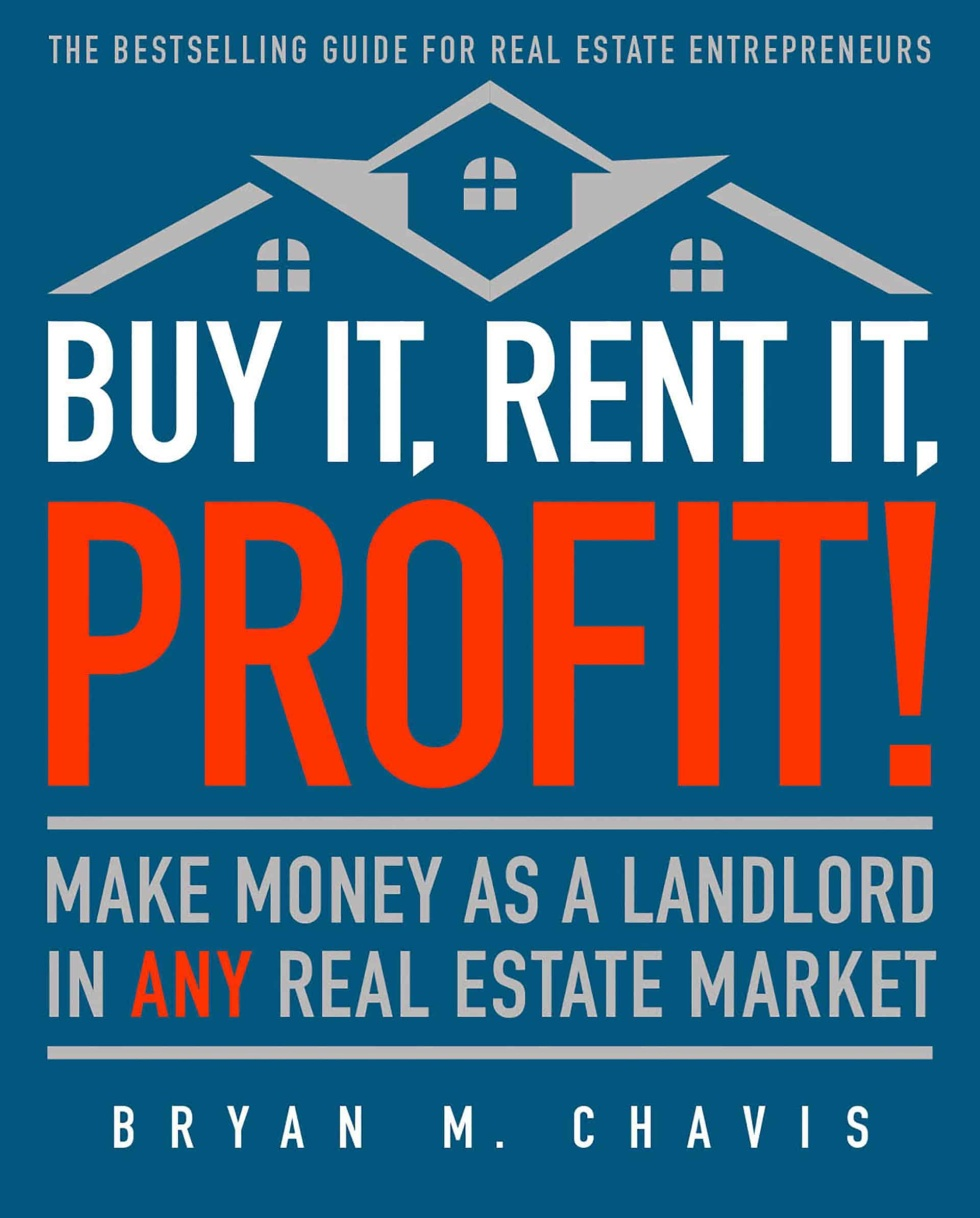"Book cover design. Background color is navy blue. Top of cover includes graphic of a house roof with windows. Text below graphic makes it seem like it's the foundation of this house. All caps white text across the page, ""Buy it, rent it,"" and below all caps red text across the page ""Profit!"" Supporting text in grey below in between two grey horizontal lines under all caps text. Author's name in white stretched across the bottom of cover."