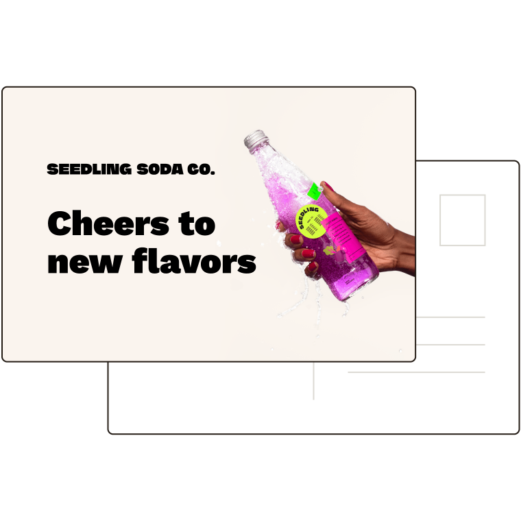 """Front of postcard with photo and headline that reads """"Cheers to new flavors""""."""