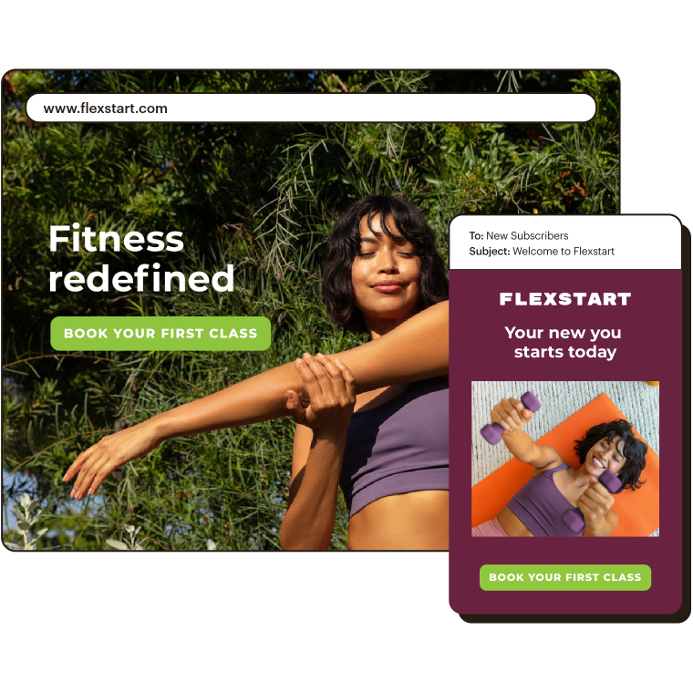 Abstract UI of flexstart.com with an example email showing how to build your audience with a campaign.