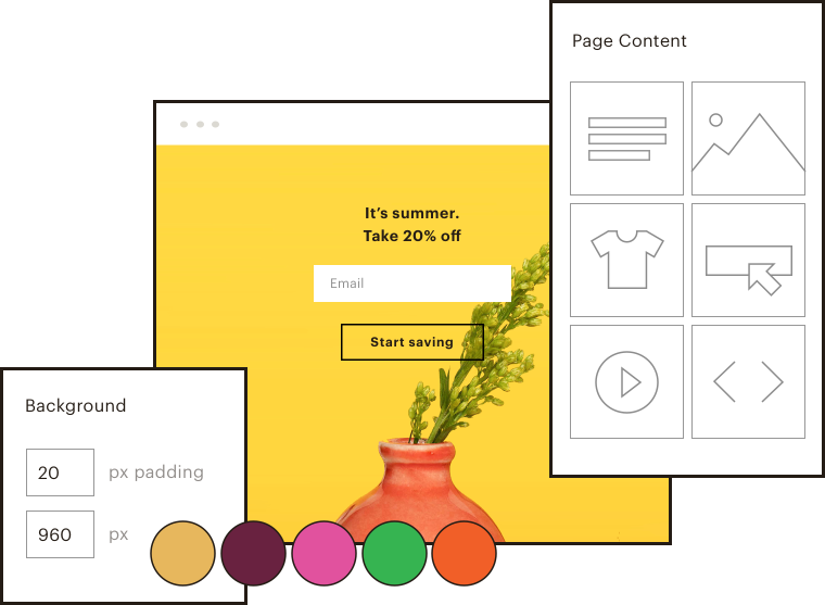 A simplified UI showing off a really attractive-looking landing page and some of the tools that made it possible