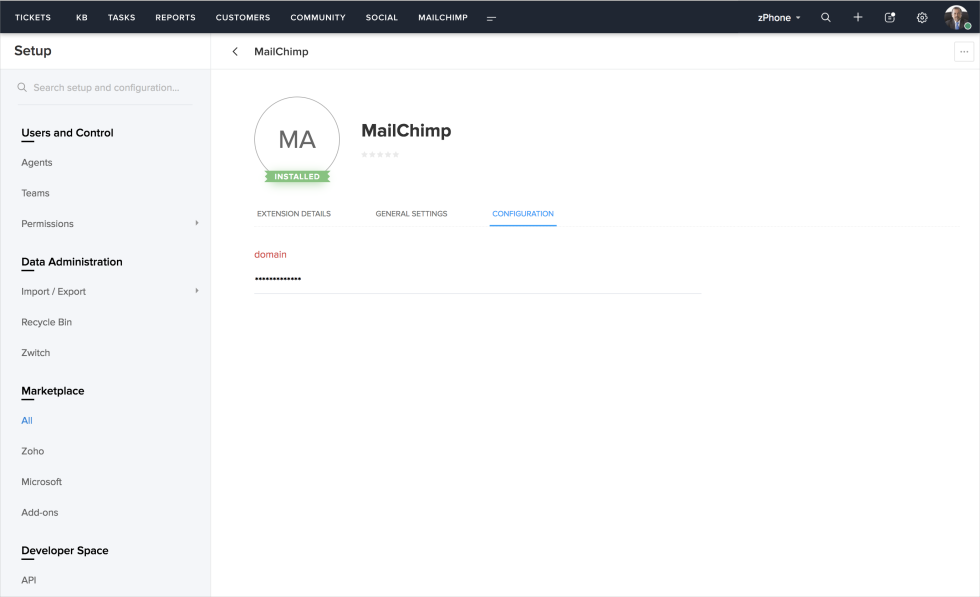 Image of Zoho Desk dashboard