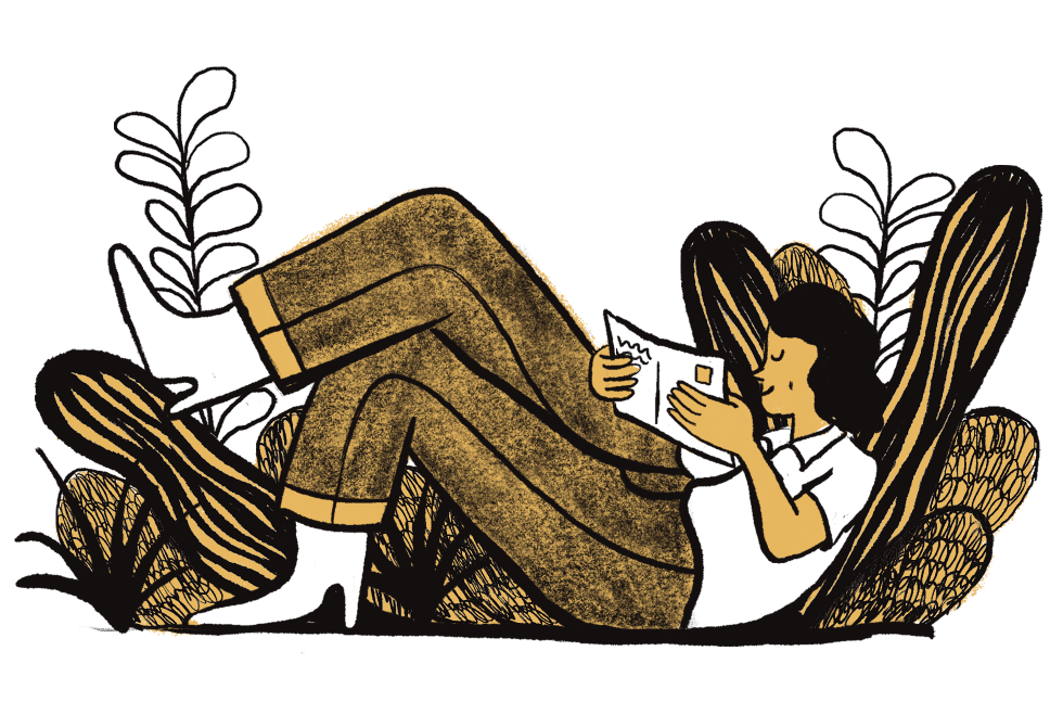 Illustration of a woman reading a postcard