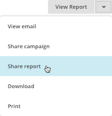 Report drop down menu with cursor over share report
