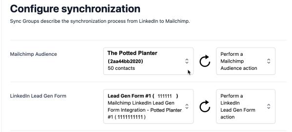 LinkedIn Lead Configure Sync Group