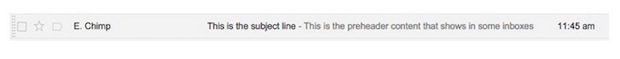 Example of how preheader text can display in inbox.