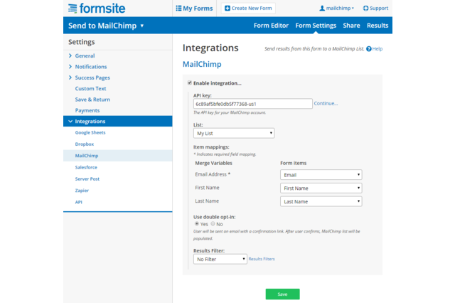 Image of Formsites dashboard