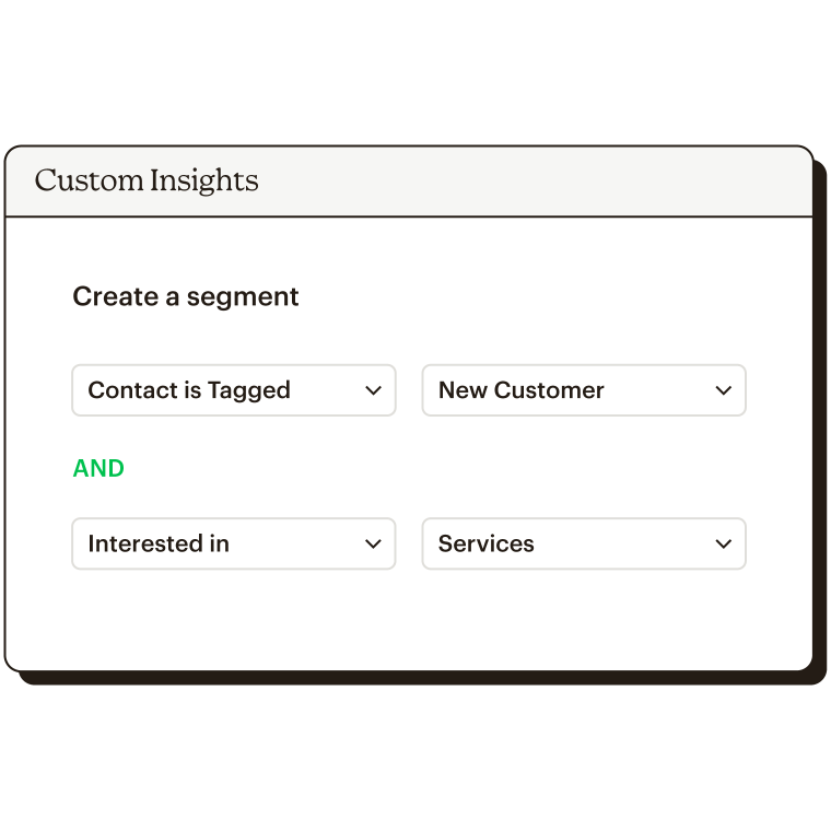 Using custom insights to create a segment. For example, if contact is tagged New Customer or if they are interested in Services.