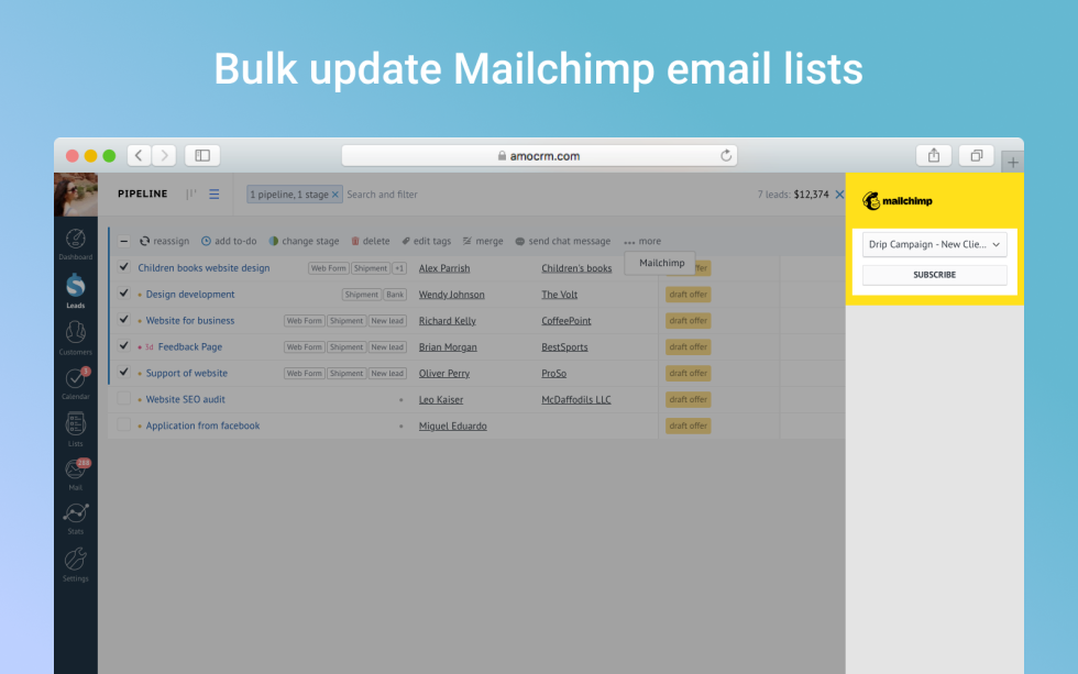 Image of option to bulk update a list with the text Bulk Update Mailchimp email lists