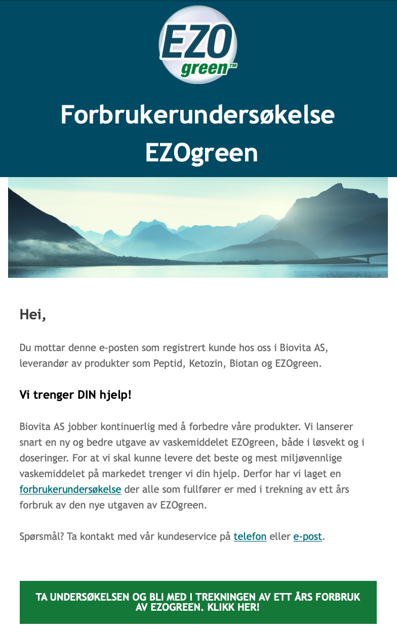 Email template. Header is top 1/3 of page and has navy background with logo at center and title in white text underneath, both are center aligned. Below this is illustration of mountain range and lake with several misty clouds. Below this is email message in black text against white background with important points in bold. Below is green horizontal bar with white text including contact information.