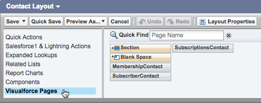 Cursor clicks visualforce option.