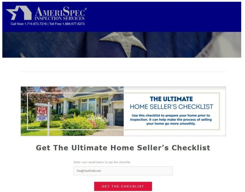 """Image of a form to """"get the ultimate home seller's checklist"""""""