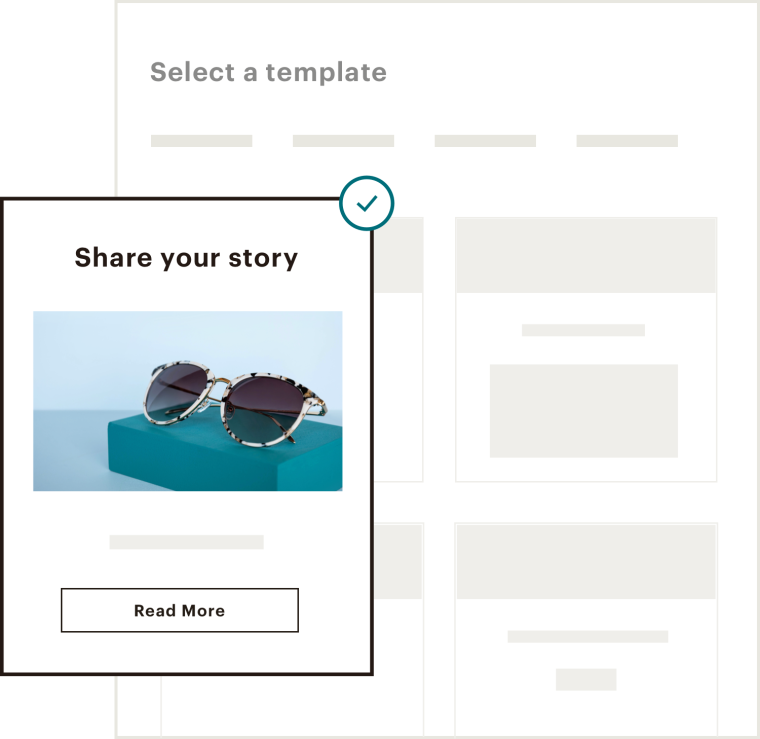 UI displaying how to share your story
