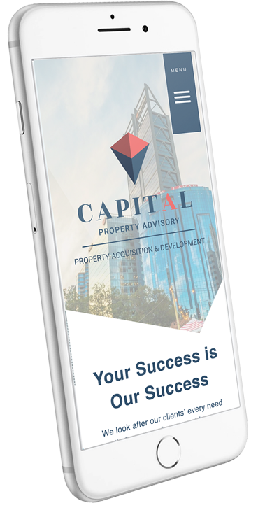 Image of smartphone with text Capital your success is our success