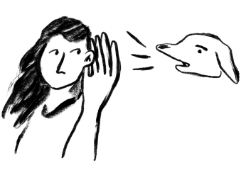 Illustration of a women hearing a dog bark