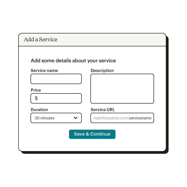 Screen where you add details about a service that customers can schedule through your website.