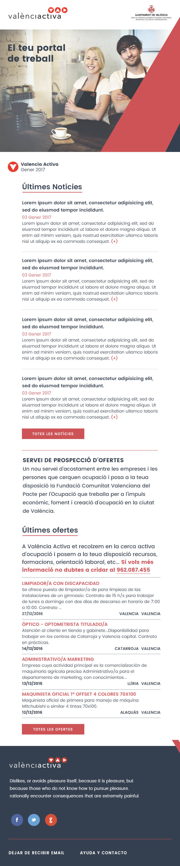 Image of an email newsletter for valencia activa