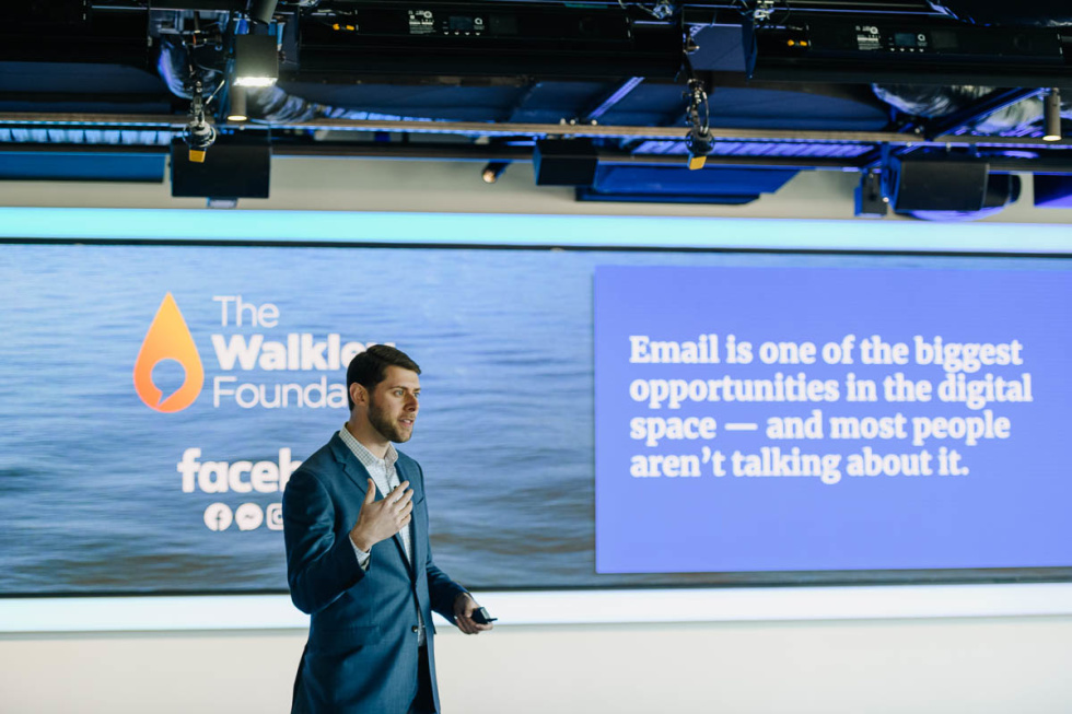 """Image of a presenter with words """"Email is one of the biggest opportunities in the digital space - and most people aren't talking about it."""""""
