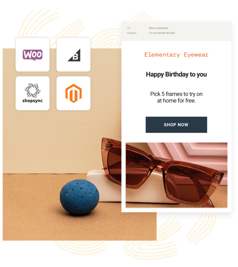 An example of connecting your store using an integration with Mailchimp