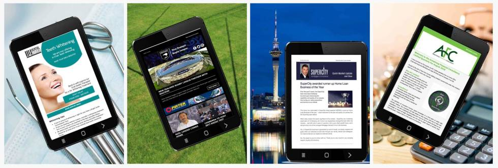 Four images of tablets each displaying a different page. Each tablet displays a website or newsletter.