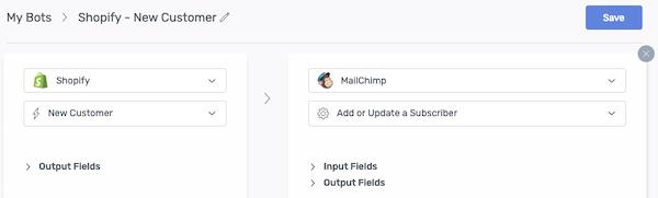 paramètres du bot automate - shopify vers mailchimp