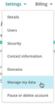 settings (paramètres) manage data (gérer les données)